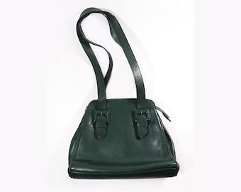 French Green Leather Handbag, Renouard Paris London, Luxuous Leatherwork