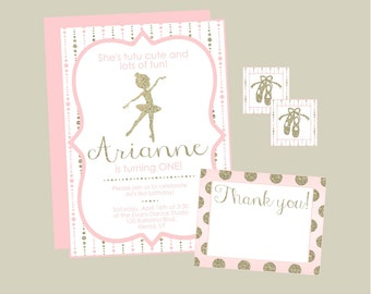 Tutu Cute Ballet First Birthday Invitation. Pink and Gold Ballet Birthday Invitation. Digital, Printable, Custom.