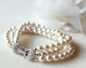 Pearl Bridal Bracelet Wedding Jewelry For Brides Three Strand Swarovski Pearl Bracelet Pearl Bridal Jewelry Pearl Wedding Bracelet