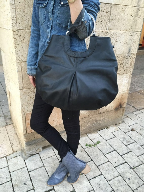 Black Leather Tote Bag / Women Soft Leather Bag / Cross Body Bag / Casual Leather Purse / Lined Office Bag /  Every Day Bag - Polo