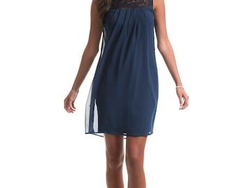 Caitlyn Navy Lace Chiffon Dress