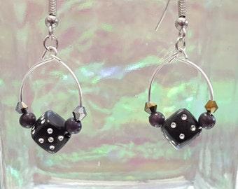 Dangling earrings with fake Black Dice