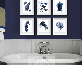 Navy Blue Wall Decor dark navy blue and white wall art set of 4 sea coral