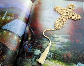 Crochet cross bookmark, pale yellow