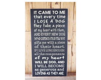 It Came To Me That Every Time I Lose A Dog, 9.5 x 18 Wood Sign, Choose Your Color, Dog Lover sign, Dog Lover, Losing a Dog, My Heart is Dog,