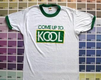 Vintage Kool cigarettes tee | cigarette t shirt | vintage ringer t shirts | hipster vintage clothing men S | soft graphic t shirts women L