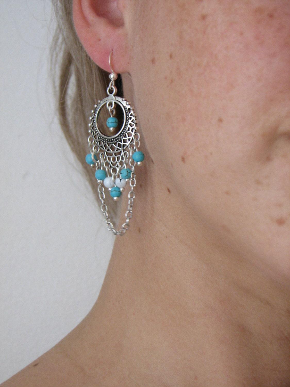 Blue Chandelier Earrings Antique Silver Earrings Bohemian