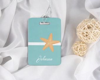 Beach Luggage Tag - Honeymoon Luggage Tag - Wedding Gift - Beach Wedding - Starfish Luggage Tag - Sea Shell - Vacation - Beach Bag Tag