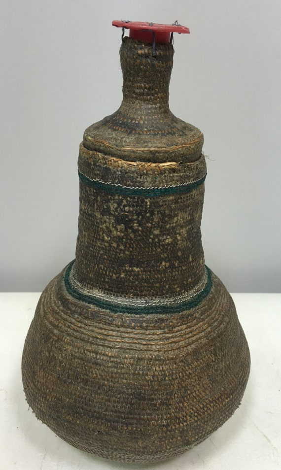 Africa Ethiopia Milk Jug Woven Fiber Wood Handmade Fiber Coiled Household  Ritual Jug Prized Women Milk Drinking Prized Rituals Unique