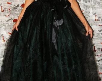 Black Green Full Length Tulle Tutu Skirt