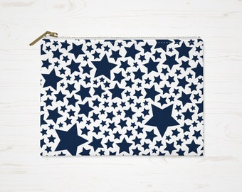Stars Cosmetic Bag, Blue Toiletry Bag, Accessory Pouch, Blue White Pouch, Large Pencil Case, Small Makeup Bag, Stars Purse, Durable Pouch