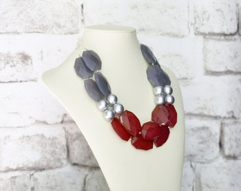 Christmas Gift for Woman - Statement Beaded Necklace - Layering Silver Necklace - Bridesmaid Necklace - Two Layer Necklace - Chunky Necklace