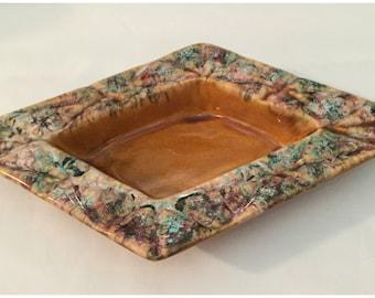 Vintage Ceramic Ashtray, Mid Century Ashtray, Retro  Ashtray, Ceramic Amber Brown W/Turquoise, Black, White,Rust Swirls.