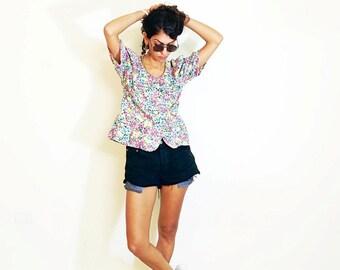 FLORAL SHIRT, puff sleeves shirt, summer top, hawaii shirt, womens vintage shirt, 80s shirts, gypsy shirt