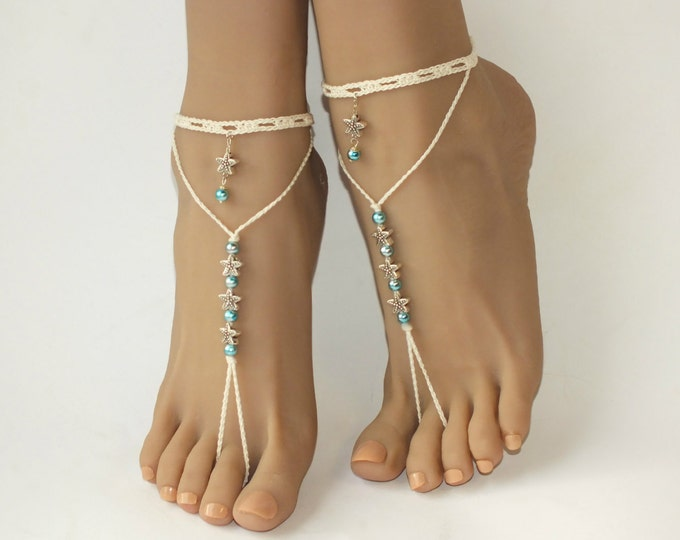 Crochet barefoot sandals/Beach wedding/Bridal Footless shoes/Bridal Barefoot Sandals/Starfish barefoot sandals