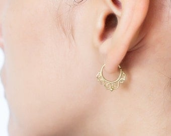 Small hoop earrings. small hoops. tribal cartilage earring. Can be worn as a septum ring.