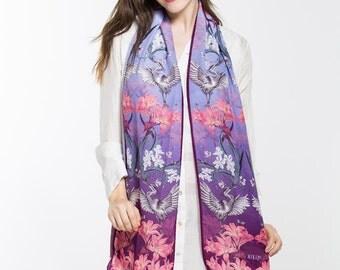 Ladies heron silk scarf, Gift for her, long silk scarf, purple silk scarf, bird scarf, hand painted scarf, flower scarf, luxury silk scarf