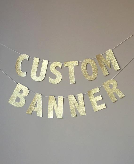 Custom Gold Glitter Banner Custom Birthday Banner New Years