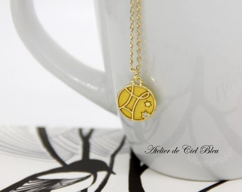 Gemini Necklace, Gemini Charm, Enamel Gemini Charm Necklace, Gold Gemini Necklace, Gemini Pendant, Horoscope Zodiac Jewelry