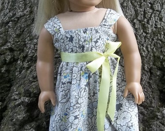 18 In Doll Clothes, Grey, Blue, Yellow, Rouched Bodice, Fits Dolls Like American Girl, Easter dress for 18 In Dolls