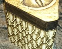 LARGE Dragon scale Wooden Trinket / Keepsake / Rune / Jewellery / Keepsake / Memory / Memories / Dice box / Chest -Fantasy / GoT / D&D style
