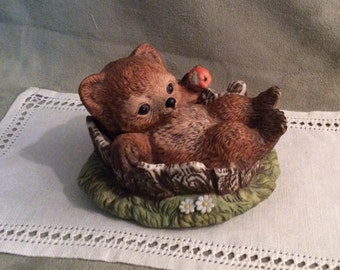 Vintage Bear Cub in Tree Stump by Homco 1986 Made in Mexico, Masterpiece Porcelain by Homco