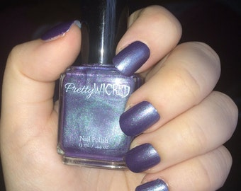 Purple and Green Chameleon Polish, Color Shifting Nail Polish, Color Changing Nail Polish, Green Glitter Nail Polish, Purple Nail Polish