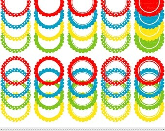Scalloped Circle Labels and Frames Clip Art, Digital Labels and Frames Clipart, Scrapbooking Labels and Frames Digital Vector Download