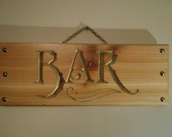 Studded BAR Sign ....Cedar natural finish  6x14x.75 inches