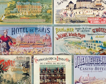 European Hotels - Old Posters - 1 Printable ATC Cards Digital Collage Sheet - For scrapbooking
