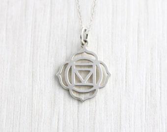 Sterling Silver Base Chakra Necklace, Chakra Pendant, Spiritual Jewellery, Yoga Jewellery, Meditation jewellery, Vegan Jewellery, Root