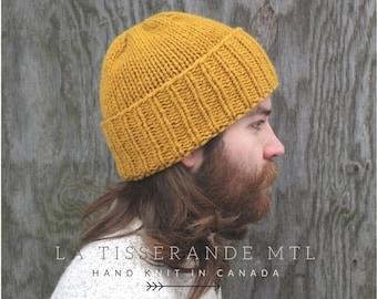 Man beanie, mustard beanie, mans beanies, man knit hat, mens beanie // The Classic Cuffed Beanie | Mustard