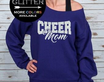 Cheer Mom Off Shoulder Raw Edge Sweatshirt for Women GLITTER, Mom Sweatshirt, Cheer Shirt, Cheerleader, Plus Sizes (White Glitter)