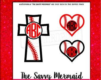 Baseball Monogram SVG- Baseball Heart- Stitches- Cross SVG file- Cricut Vinyl Decal cut file- Silhouette Studio Dxf- Printable Iron on Shirt