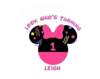 Personalized Minnie with Pants Bow Birthday Girl/ Minnie Mouse Ears with Age Number Name Disney Party Iron On Decal Vinyl for Shirt 251