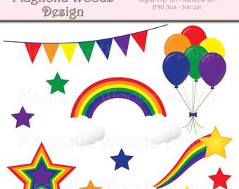 Rainbow Clip Art, Balloon Clip Art, Birthday Clip Art, Rainbow PNG, Rainbow Star Clip Art, Small Commercial Clip Art