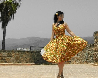 Pinup dress 'Valencia Orange', PLUS SIZE AVAILABLE orange rockabilly dress