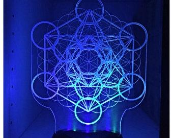 Led light up metatrons cube lamp