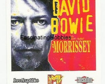"Paris 1996 - David BOWIE 's Concert with special Guest  MORISSEY-Genuine Ticket -Album ""1 Outside""- Mint condition- track insurance included"