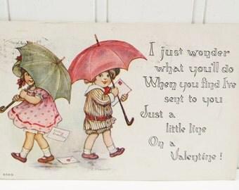 Children with Umbrellas 1915 Postcard F A Owen, Boy and Girl Antique Valentine Card