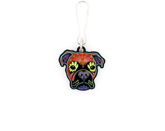 Boxer - Collar Charm / Key Chain / Zipper Pull - Day of the Dead Sugar Skull Dog