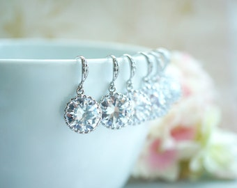 Cubic Zirconia Earrings 10% OFF - Set of 3, Three Pairs Wedding Earrings. Round Cubic Zirconia White Silver Plated Earrings Bridesmaid Gift.