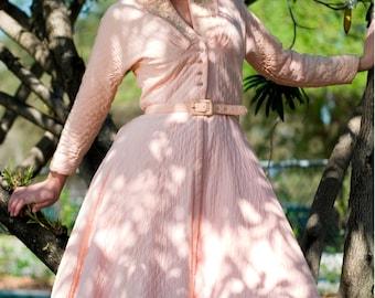Retro Christmas Dress, Rockabilly Dress, Pink Swing Dress, Quilted Dress, Bridesmaid Dress, Size Small, Vintage Dress, 50s Dress,
