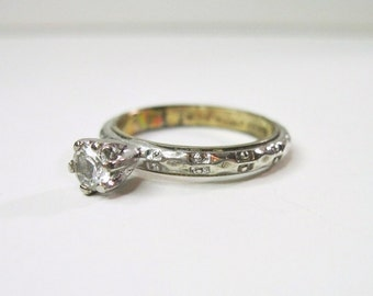 Vintage Solitaire Engagement Ring - Sterling Silver & Gold Filled - Clear Glass Stone - Patterned - Size 6 -  1960s to 1970s