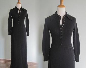 Sexy 80s Black Sweater Dress with Rhinestone Buttons - Vintage Long Black Winter Cocktail Dress - Vintage 1980s Sweater Dress S M