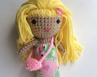Handmade doll, Cute crochet doll, Rag doll, Soft toy, kawaii toys, blonde doll, amigurumi, ready to ship toy