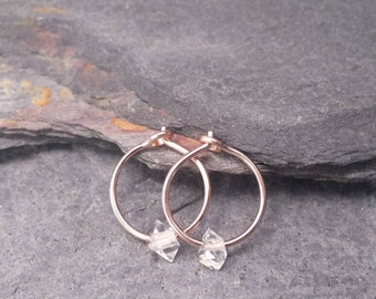 Small Rose Gold Hoops. Herkimer Diamond Earrings. Raw Crystal Earrings. 10mm / 13mm. Nickel Free 14k Gold Filled. Limited Edition.