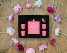 Pink Custom Flask Set, Personalized, Engraved, Pink Flask Set, Bridal Party, Bridesmaid Gift, Monogrammed Flask, J0875094