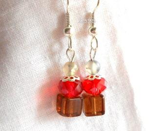 Cupcake Earrings Crystal Earrings Red Earrings Silver Plated Surgical Steel Earrings Brown Earrings Cherry Chocolate