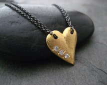 Heart of gold, heart pendant, love necklace, valentine, heart with stones, cubic zirconium, textured heart, gift of love, golden heart